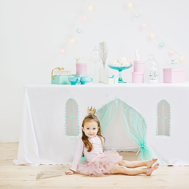 image 0 ... & Playhouse tablecloth Frozen play tent table   Etsy