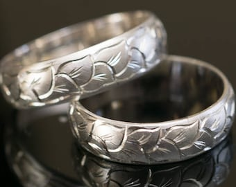 Hand Engraved Ring Engraved Wedding Bands Set Hand Carved Band Hand Engraved Leaves Pattern in 925, 14K or 18K
