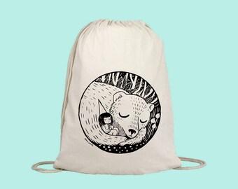 Gymbag litter glitter dran drawstring backpack gym bag silkscreen screen printing kids glitch unicorn fairies silver