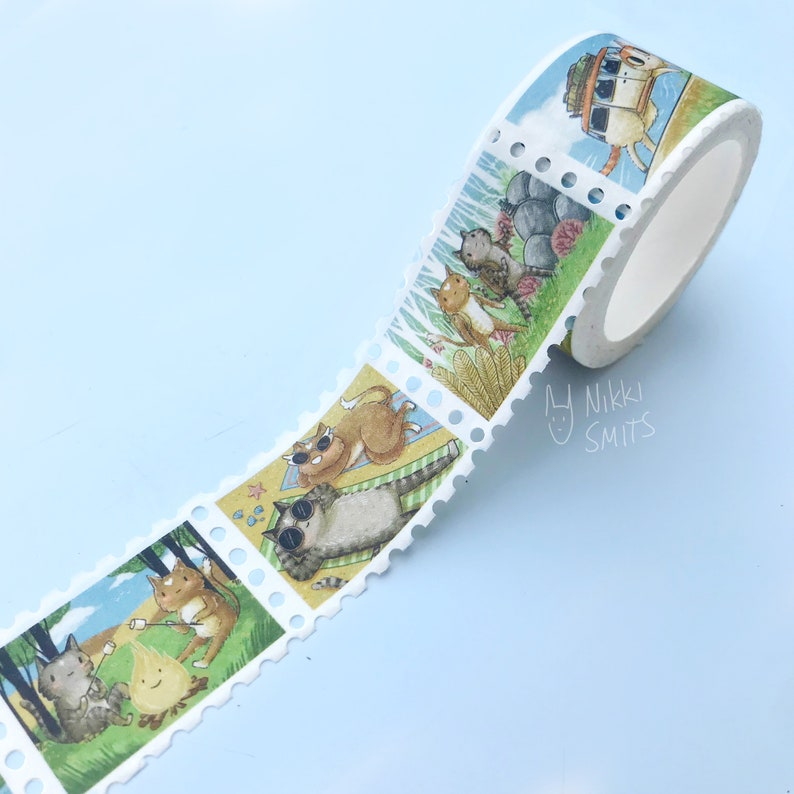 Stamp Washi Tape Coffee Cat and Travel Cat on Vacation