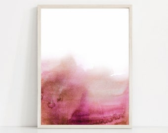 Dark Pink Watercolor Print, Pink Abstract Art, Dark Pink Art Print, Bright Pink Print, Watercolor Art, Hot Pink Wall Art, Pink and White Art