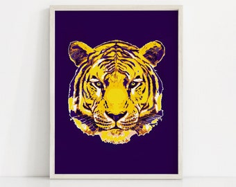 LSU Art Print, Christmas Gift, LSU decor, Graduation Gift for Men, lsu gift, lsu Wall Art, LSU Prints, Men's Art, Tiger Print, lsu tigers