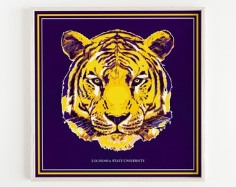 LSU Graduation Gift, LSU Art Prints, Tiger Art, Tigers, Men's Wall Art, LSU Decor, Father's Day Gift, Men's Gift, Louisiana Art, Baton Rouge