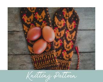 KNITTING PATTERN   Little Red Hen Mittens   Knit Mittens   Chicken Mittens   Stranded Colorwork