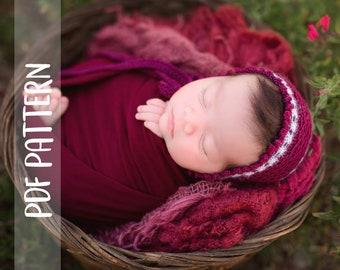 KNITTING PATTERN   Paris Bonnet   PDF   Newborn   Photography Prop