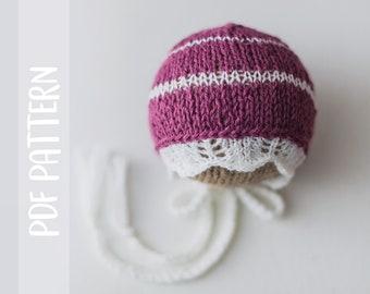 KNITTING PATTERN   Nevin Bonnet   Lace Brim   Newborn   Photography Prop