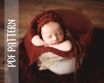KNITTING PATTERN   Winter Berries Bonnet   Newborn   Photography Prop