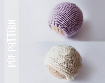 KNITTING PATTERN   Basic Aran Beanie   Newborn   Photography Prop