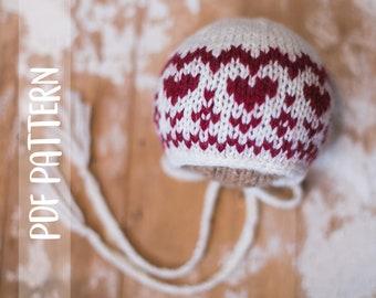 KNITTING PATTERN   Fair Isle Christmas Bonnet   Newborn   Photography Prop