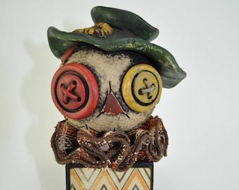 Scarecrow Blockhead - plaid burlap
