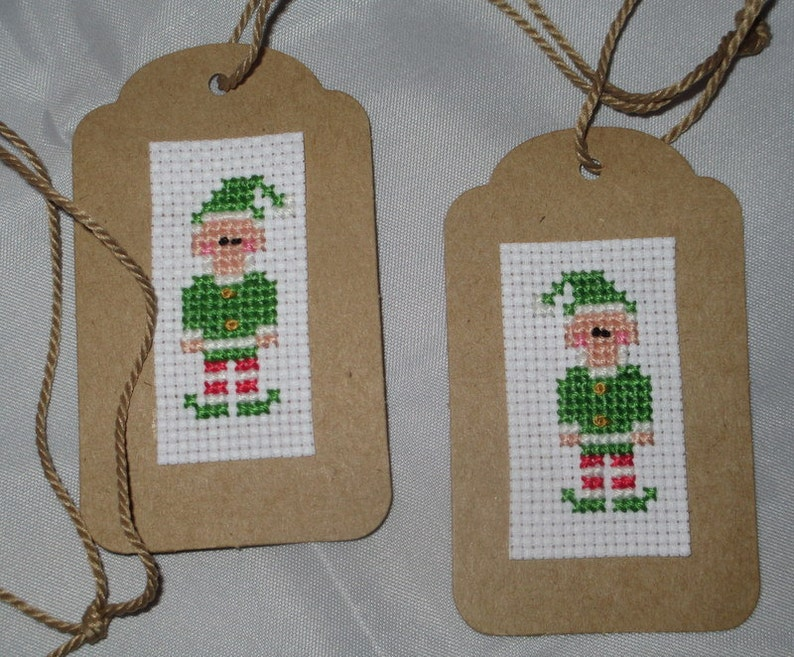 Cross stitch Elves Christmas Gift tags