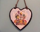 Large Hanging Slate Bird Paradise Heart with Twine.