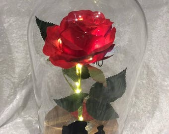 Beauty and The Beast Everlasting Rose Glass Dome on Wooden Base with LED Lights