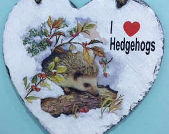 Large Hanging Slate Painted and Decoupaged I Love Hedgehogs Heart with Twine.