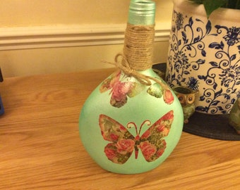 Decoupaged Recycled bottle decorated and painted Green pearlised with Butterflies and Twine.