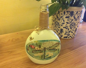 Dragonfly and Butterfly's decorated and Decoupaged Painted Bottle wrapped in twine Mother's Day Gift