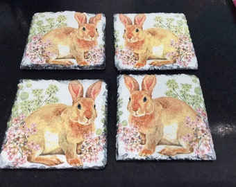 Slate Coasters Hare resting set of 4,Decoupaged and painted perfect gift for nature lovers, picnics and table accessories