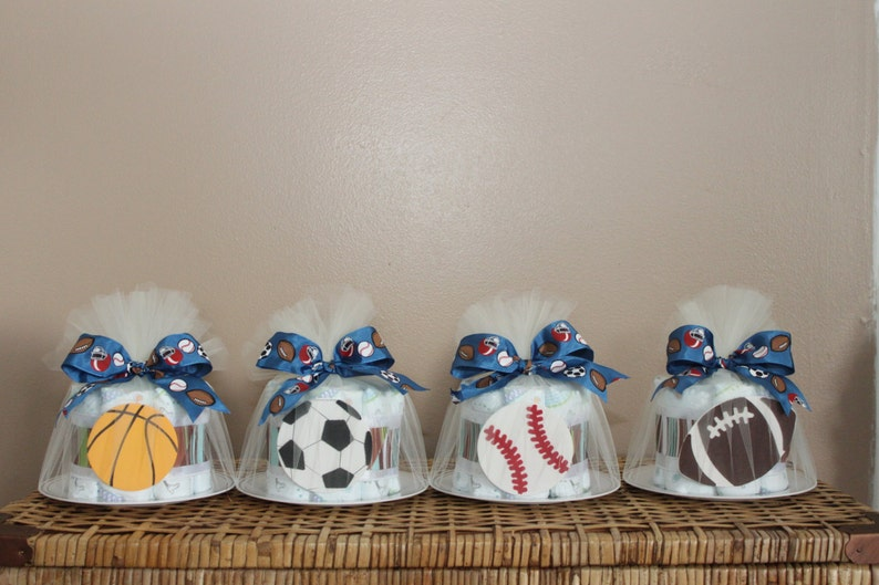 Small diaper cakes for baby shower sports or any theme image 0