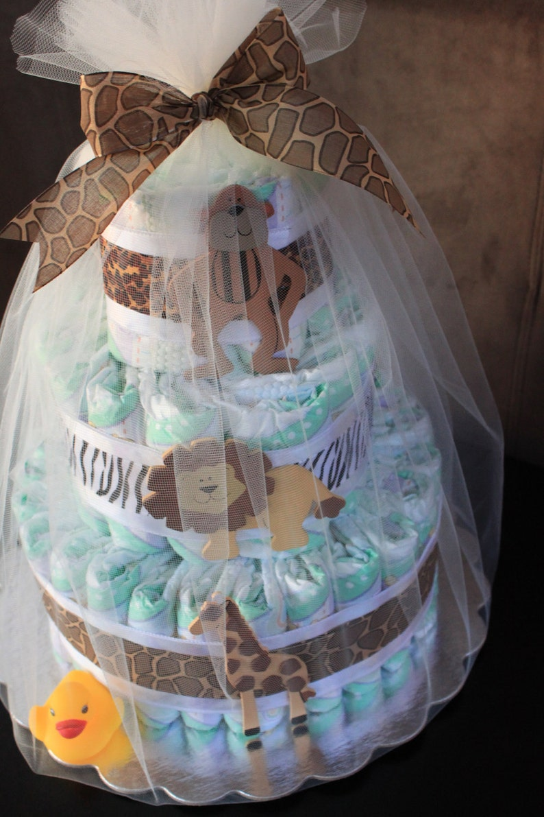 Jungle-Themed Three-Tiered Diaper Cake image 0