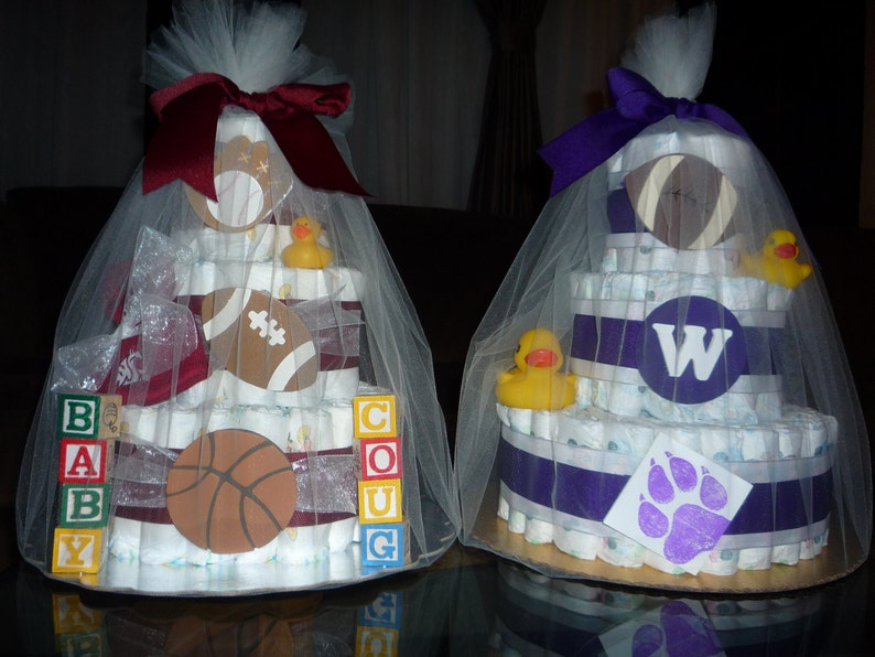 Custom three-tiered diaper cakes new parent baby shower gifts image 0