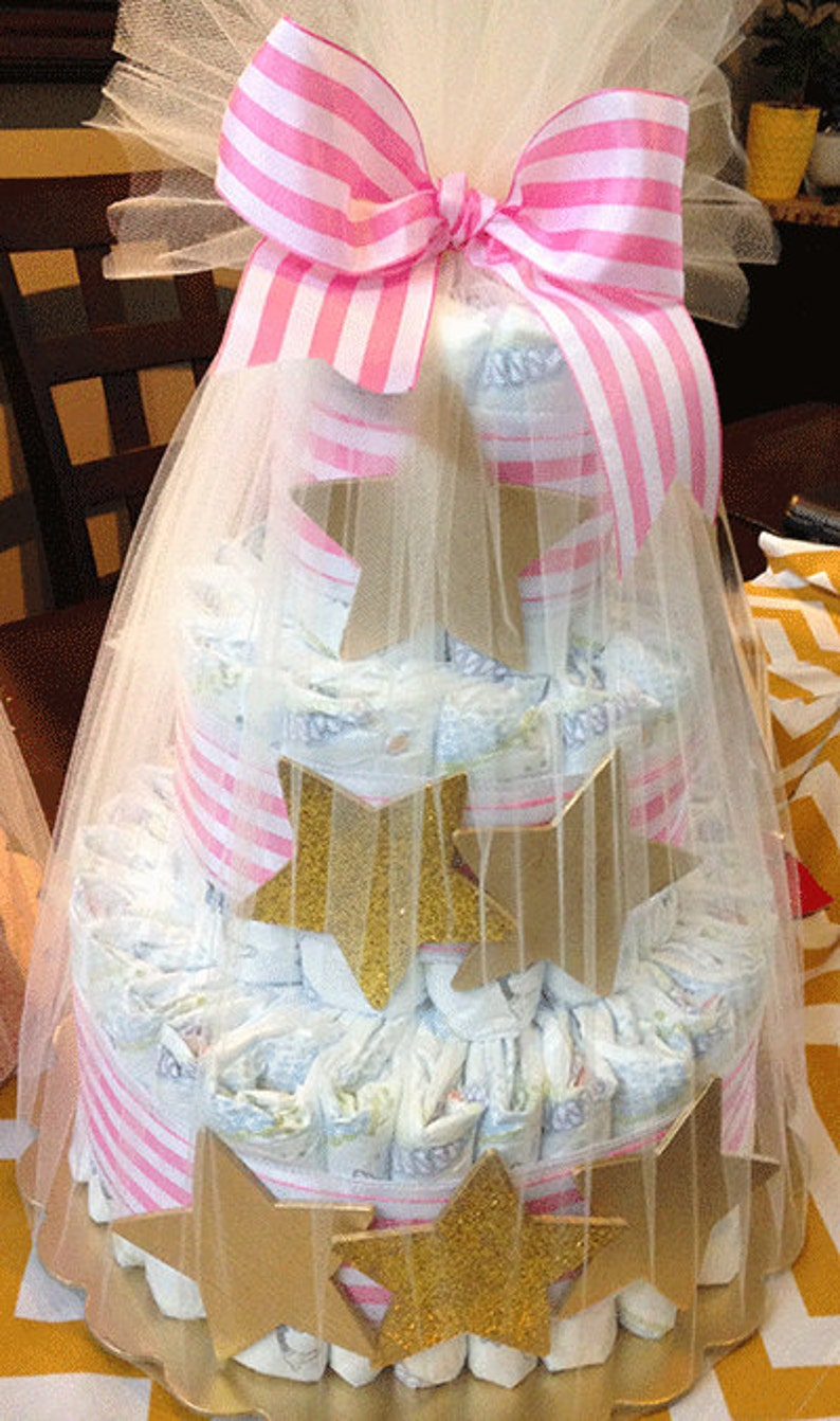 Golden star diaper cake baby shower gift image 0