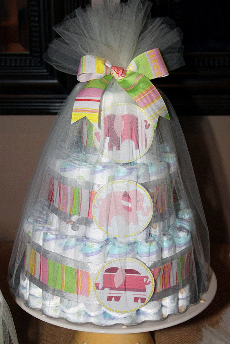 Elephant diaper cake for baby shower or new parent custom image 0