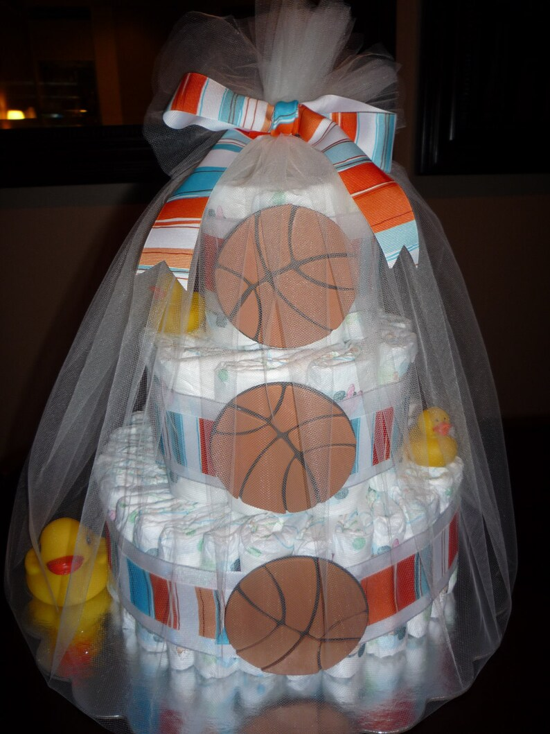 Sports diaper cake basketball football soccer baseball image 0