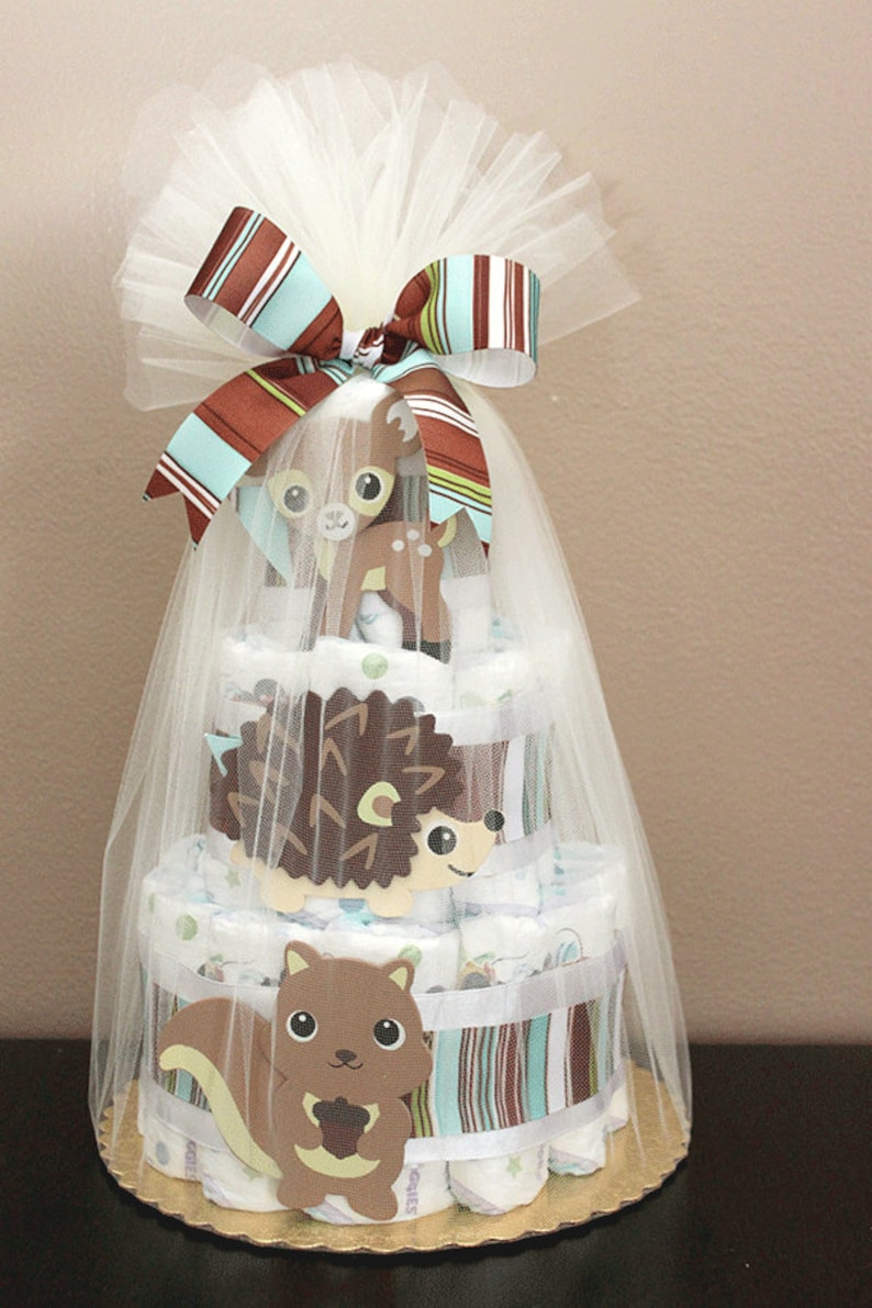 Woodland-themed diaper cake baby shower centerpiece or gift image 0