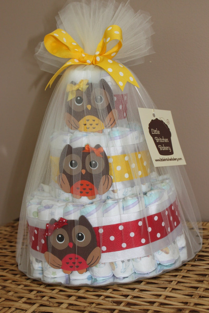 Customizable tiered owl diaper cake for baby shower or new image 0
