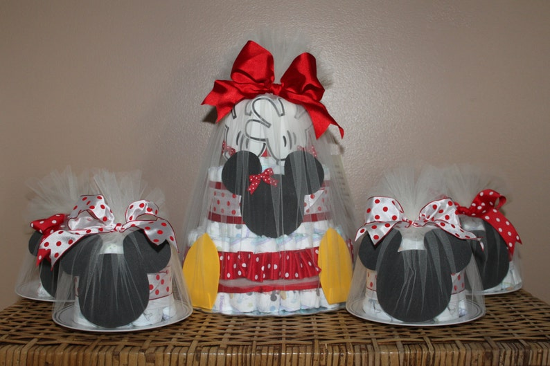 Minnie Mouse-inspired diaper cake combination One 3-tiered image 0