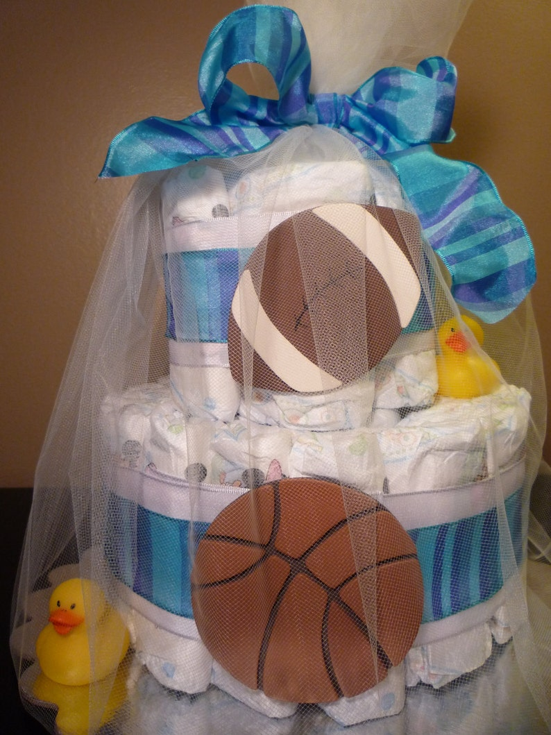 Sports themed diaper cake two-tier baby shower gift image 0