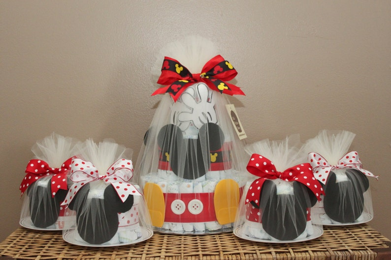 Mickey Mouse-inspired diaper cake combination One 3-tiered image 0