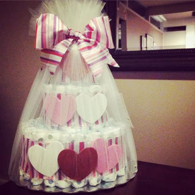 Heart diaper cake for baby shower centerpiece image 0