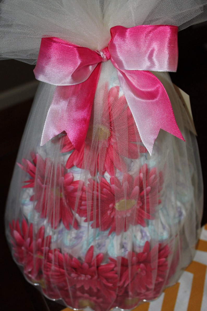 Pink ombre floral diaper cake image 0