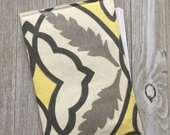 Invitation Holder, small book pouch, jw campaign tract holder, pouch style in a soft yellow and gray print - Ready to Ship