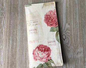 Tract Holder in Paris Rose Fabric - Pocket for Invitations and Contact Cards and 8 Clear Pockets Inside - jw tract holder - Ready to Ship