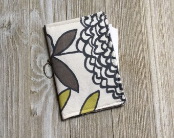 Contact Card Holder, Business Card Pouch, Store Card Case, Cash Holder, in Flowers and Leaves Cotton Duck Fabric - Ready to Ship