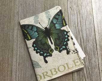 Contact Card Holder, Business Card Pouch, Store Card Case, Cash Holder, in Butterflies Fabric with Blue and Taupe - Ready to Ship