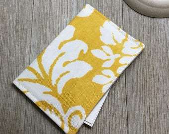 Contact Card Holder, Business Card Pouch, Store Card Case, Cash Holder, in Yellow Cotton Duck Fabric - Ready to Ship