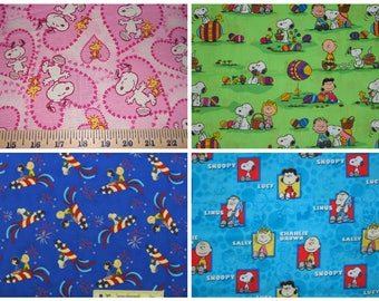 Snoopy Charlie Brown Peanuts Gang Fabric - Pink Heart Snoopy, Snoopy and Peanuts Gang Easter and 4th of July, Snoopy and Peanuts Gang Square