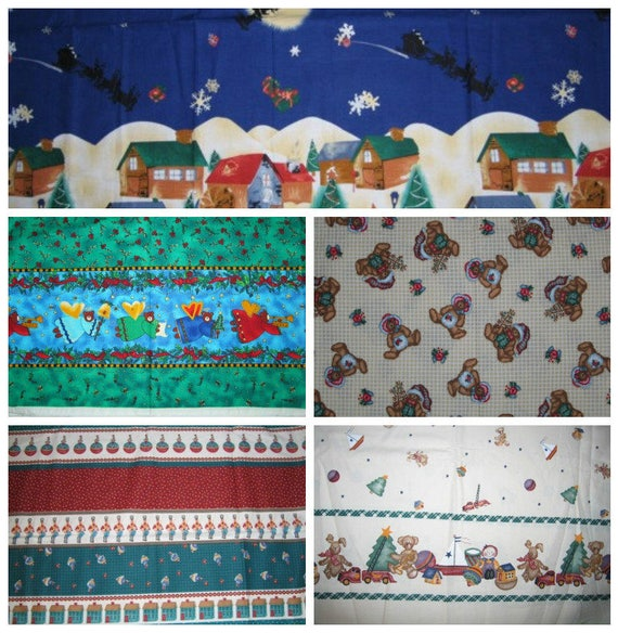 Christmas Border Fabric Prints Holiday Village Daisy Etsy