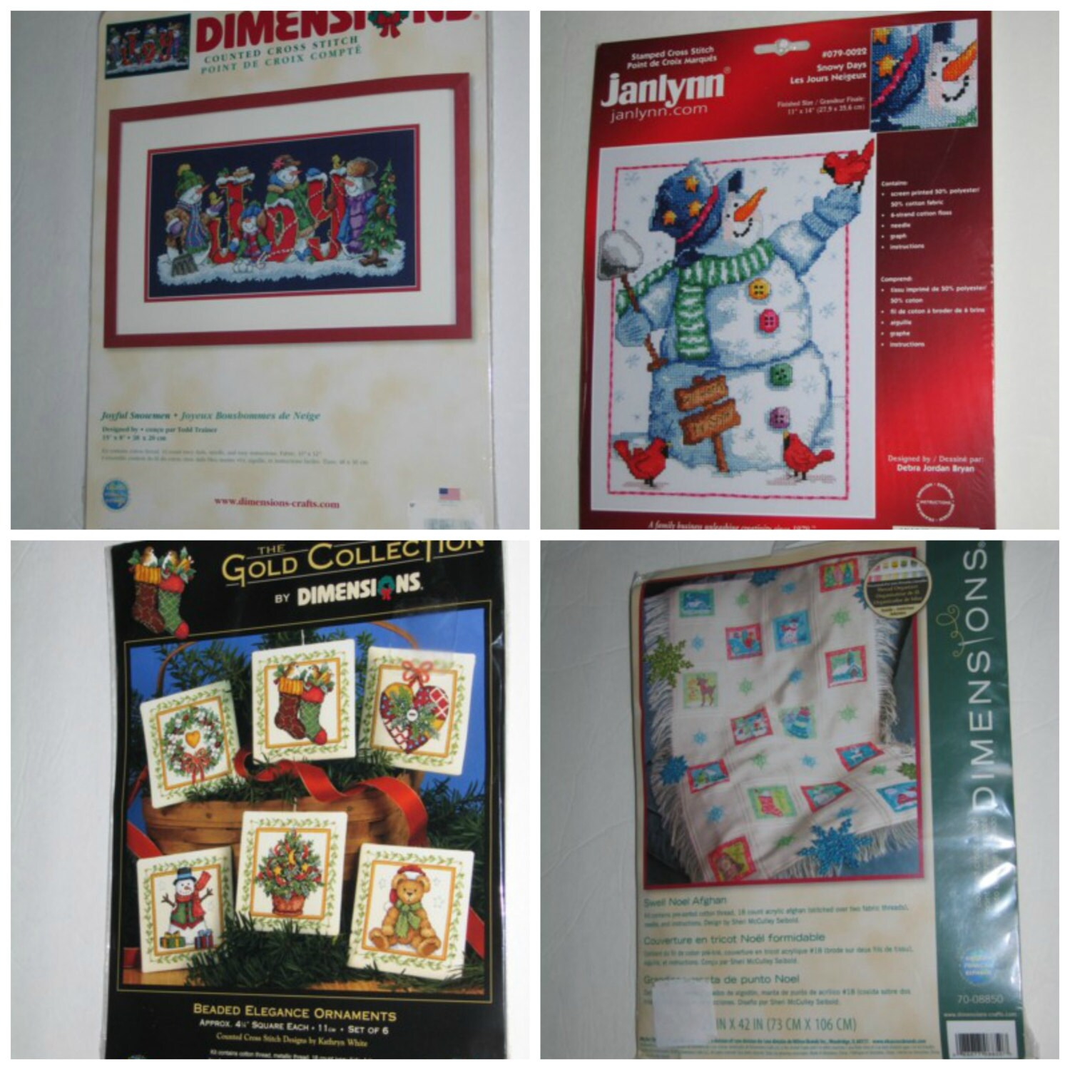 VTG Janlynn Counted Cross Stitch Snowmen Collection 8 Ornaments Kit New