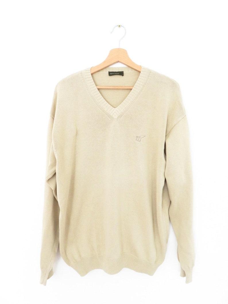 HENRY COTTON/'S Cotton Beige Brown V-neck Sweater Jumper sz L