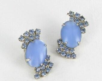 Pale blue Rhinestone earrings translucent Glass Clip back vintage silver tone