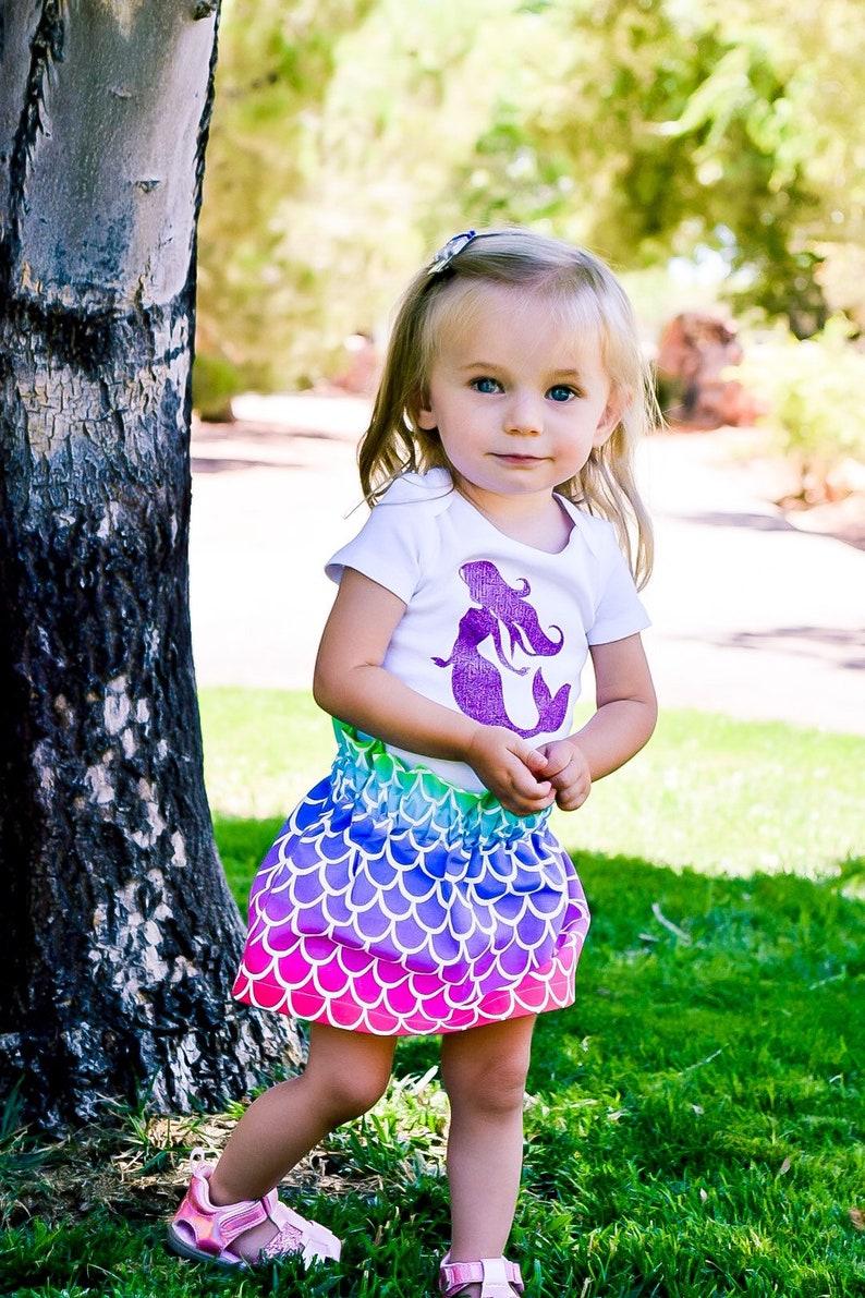 Rainbow mermaid scales skirt for baby girl and toddler girl mermaid birthday outfit mermaid party theme girls mermaid dress infant kids