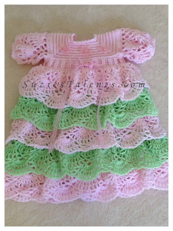 Venice Dress Crochet Baby Christening Dress Baby Layers Etsy