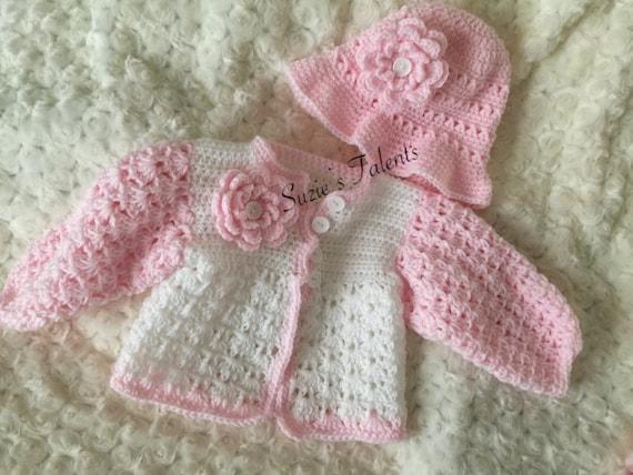 Baby Frühling Jacke Und Hut Set Häkeln Babystrickjacke Etsy