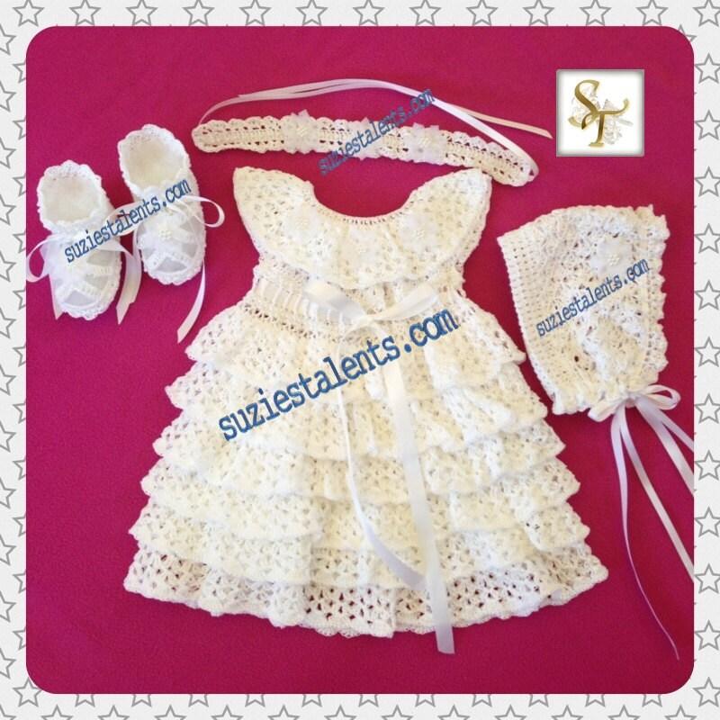 Baby Christening Dress Set Baby Blessing Dress Crochet Baby Etsy