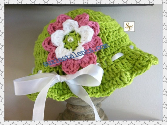 af847c76a59 Crochet Baby Hat with Flower Baby Flower Hat Baby Girl Sun
