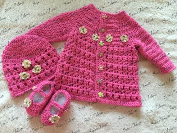 Drei Stück Baby Jacke Set Häkeln Babystrickjacke Mütze Und Etsy